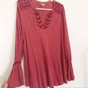 Lucky Brand Plus Embroidered waffle knit top